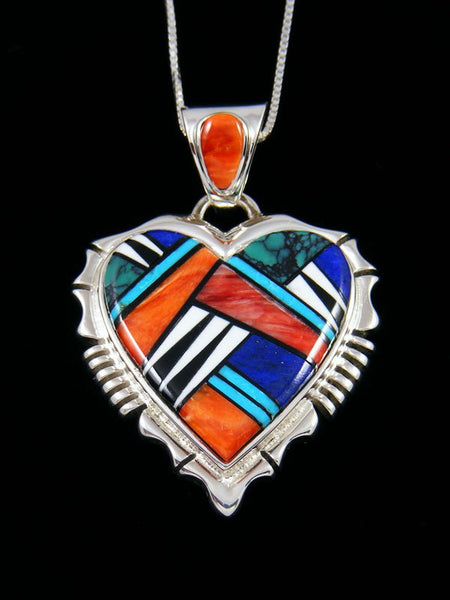 Navajo Turquoise and Spiny Oyster Inlay Heart Pendant