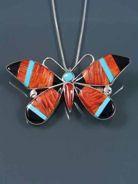 Native American Zuni Inlay Spiny Oyster Butterfly Pendant