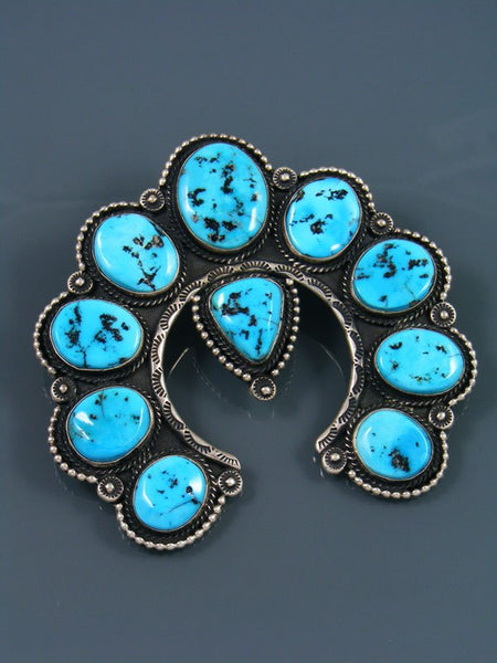 Native American Indian Sterling Silver Sleeping Beauty Turquoise Naja Pendant