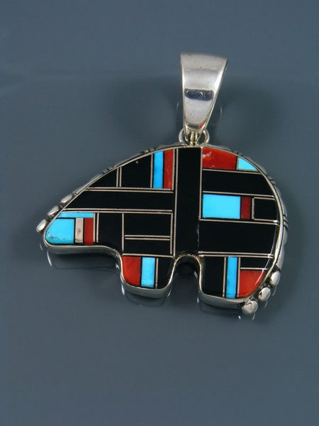 Native American Turquoise and Onyx Inlay Bear Pendant