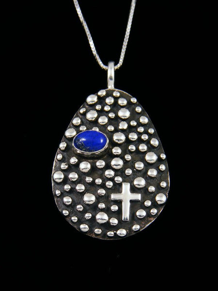 Lapis Navajo Handmade Droplet and Cross Pendant