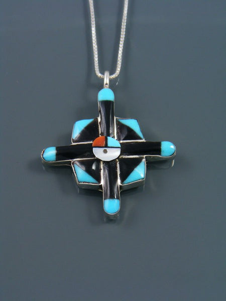 Sterling Silver Turquoise Zuni Sunface Pendant