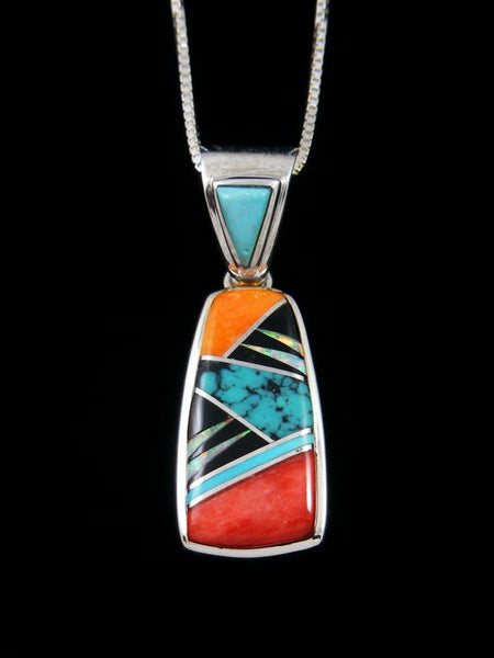 Navajo Spiny Oyster and Turquoise Inlay Pendant