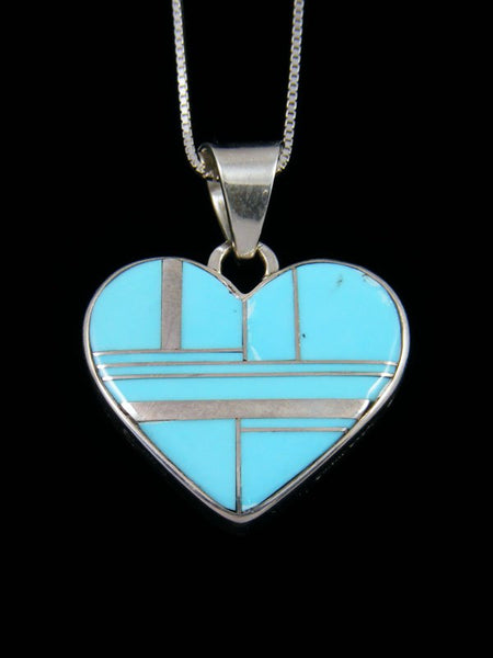 Native American Turquoise Reversible Heart Inlay Pendant
