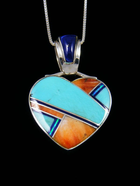 Navajo Inlay Spiny Oyster and Turquoise Heart Pendant