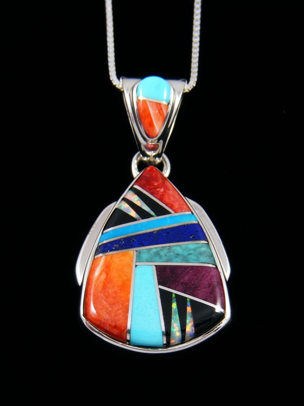 Native American Inlay Turquoise and Spiny Oyster Pendant