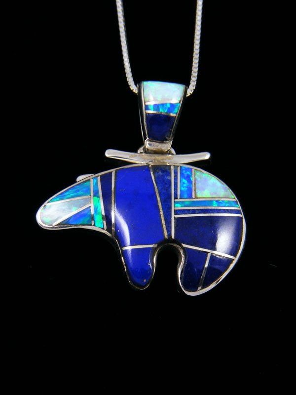 Navajo Lapis and Opalite Inlay Bear Pendant