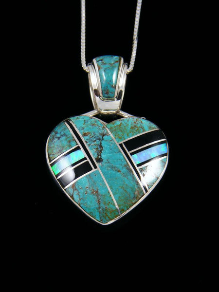 Navajo Inlay Opalite and Turquoise Heart Pendant