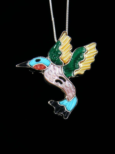 Native American Zuni Inlay Hummingbird Pin Pendant