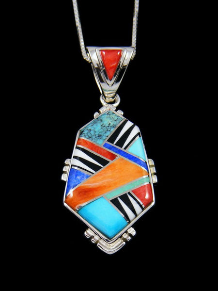 Navajo Turquoise and Spiny Oyster Inlay Pendant