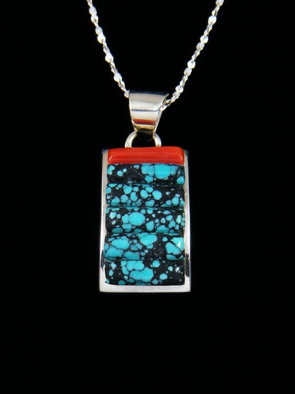 Sterling Silver Cobblestone Coral and Turquoise Navajo Made Pendant