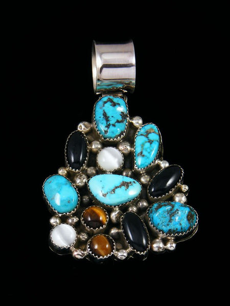 Navajo Necklace Turquoise and Onyx Mosaic Pendant