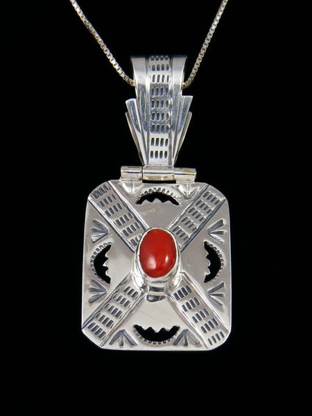Native American Coral Sterling Silver Cut Out Pendant