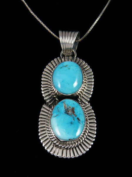 Native American Candelaria Turquoise Sterling Silver Pendant