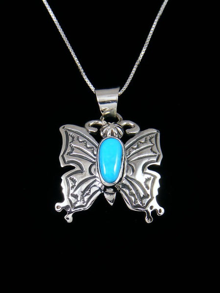 Navajo Sterling Silver Sleeping Beauty Turquoise Butterfly Pendant