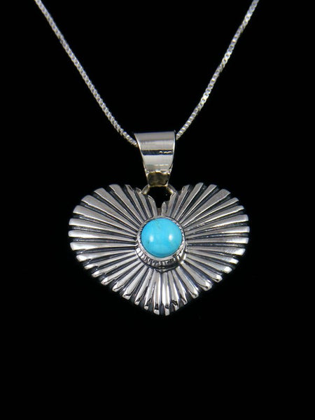 Navajo Sterling Silver Turquoise Heart Pendant