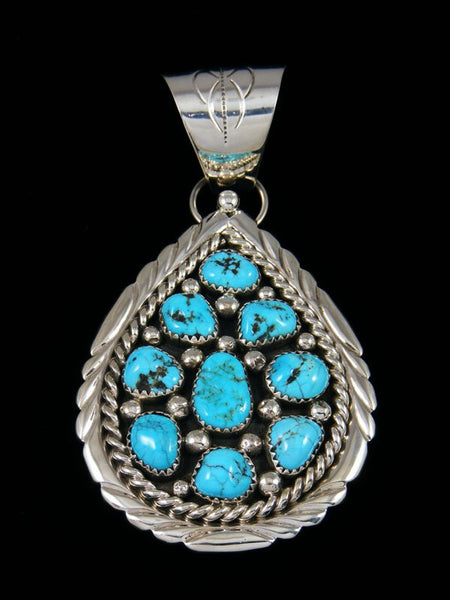 Navajo Kingman Turquoise Sterling Silver Cluster Pendant