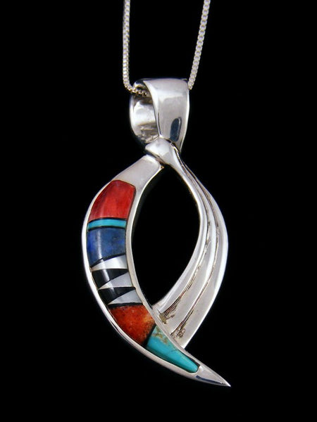 Navajo Inlay Spiny Oyster and Turquoise Pendant