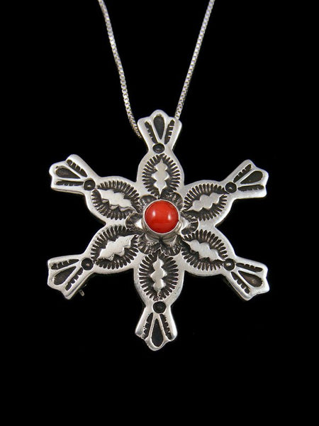 Native American Red Coral Snowflake Sterling Silver Pin/Pendant