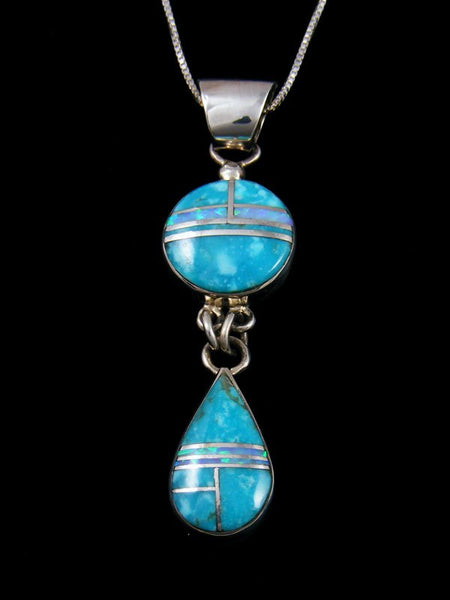 Native American Sterling Silver Turquoise and Opalite Inlay Pendant