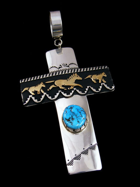 Native American Silver and Gold Overlay Kingman Turquoise Cross Pendant