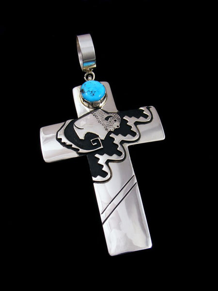 Native American Sterling Silver Overlay Kingman Turquoise Cross Pendant