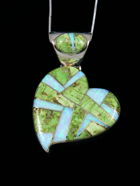 Large Navajo Inlay Gaspeite and Opalite Heart Pendant