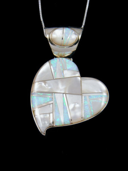 Large Navajo Inlay Mother of Pearl and Opalite Heart Pendant