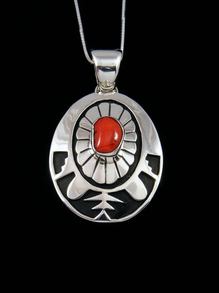 Natural Red Coral Navajo Sterling Silver Overlay Pendant