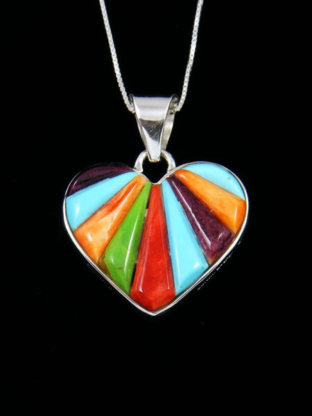 Navajo Cornrow Inlay Multistone Sterling Silver Reversible Heart Pendant