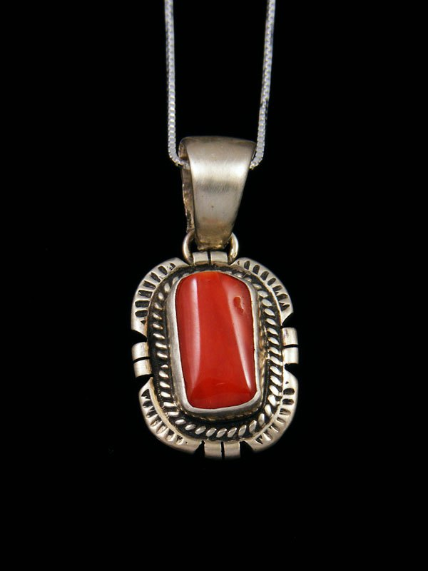 Native American Sterling Silver Red Coral Pendant