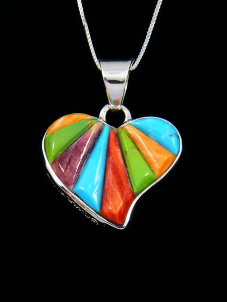 Navajo Cornrow Inlay Multi-Stone Sterling Silver Reversible Heart Pendant