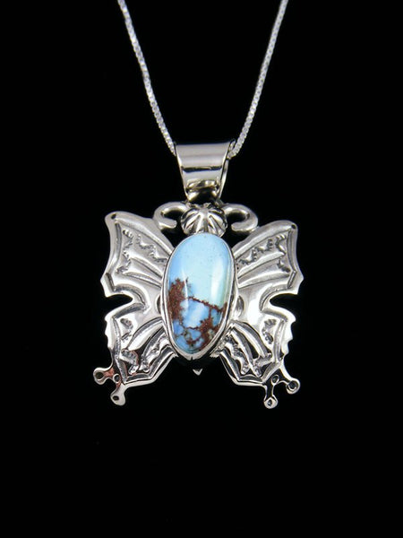 Navajo Crafted Sterling Silver Golden Hill Turquoise Butterfly Pendant