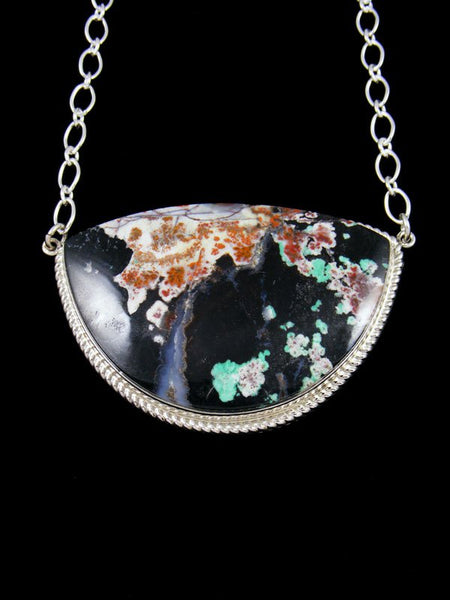 Sterling Silver Opalized Petrified Wood Navajo Pendant