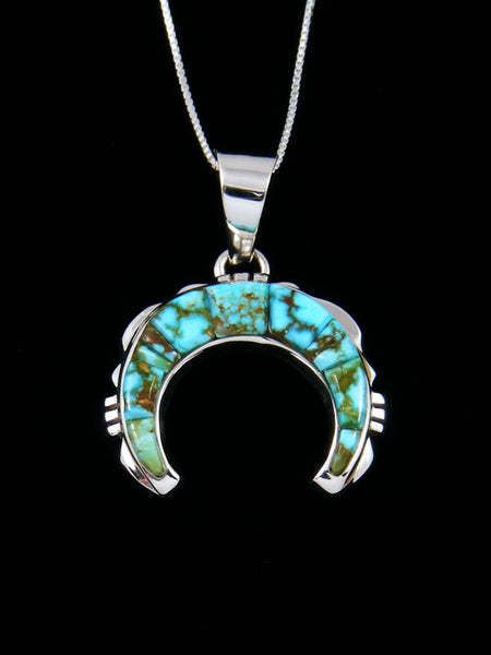 Navajo Sterling Silver Cloud Mountain Turquoise Naja Pendant