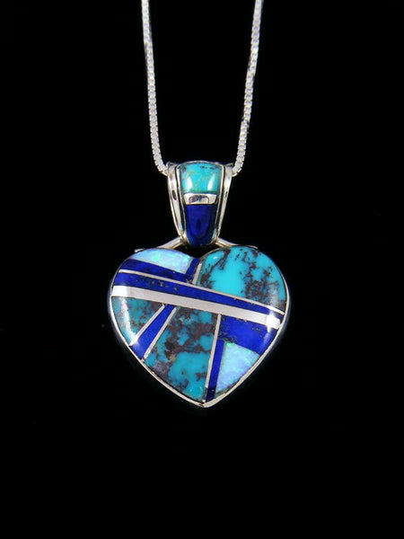 Navajo Inlay Lapis and Turquoise Heart Pendant