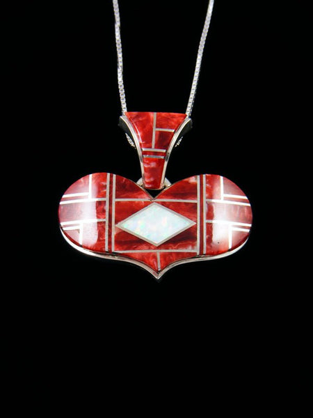 Navajo Inlay Spiny Oyster and Opalite Heart Pendant