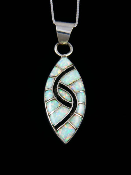 Opalite Sterling Silver Zuni Inlay Pendant