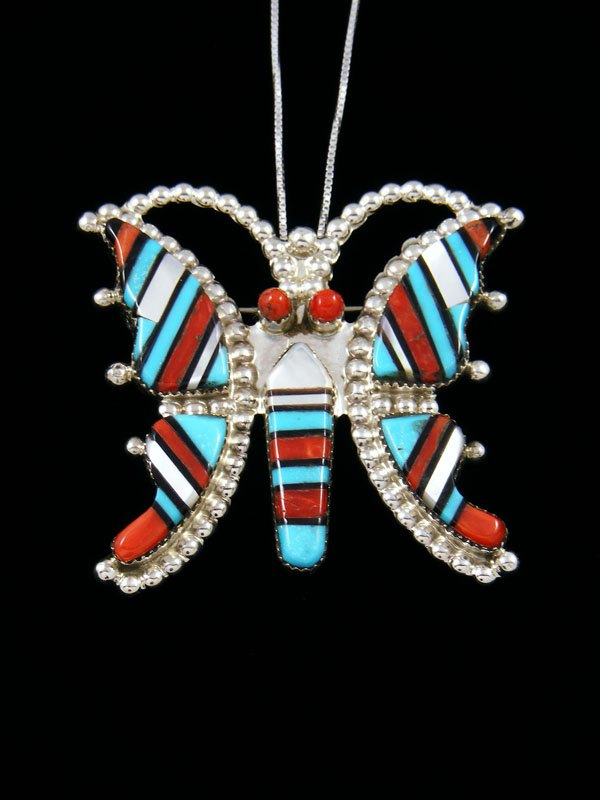 Native American Sterling Silver Zuni Inlay Butterfly Pin Pendant