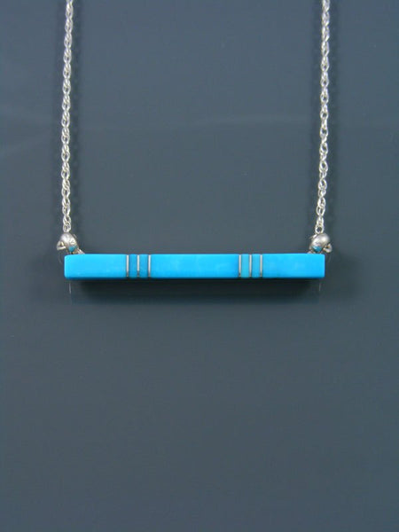 Native American Indian Jewelry Turquoise Inlay Bar Necklace
