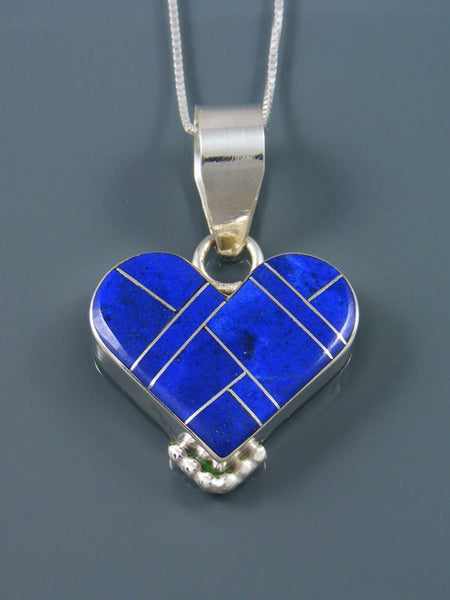 Navajo Sterling Silver Lapis Heart Inlay Pendant