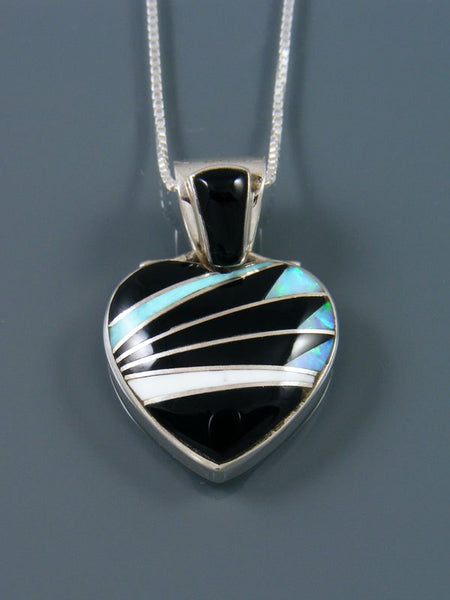 Navajo Inlay Opalite and Onyx Heart Pendant