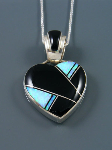 Navajo Inlay Onyx and Opalite Heart Pendant