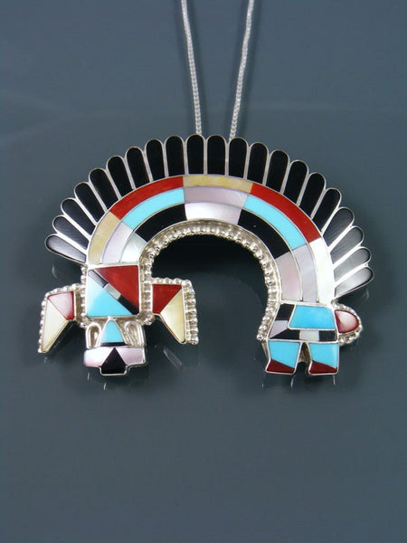 Turquoise and Coral Sterling Silver Inlay Zuni Rainbow Man Pin/Pendant