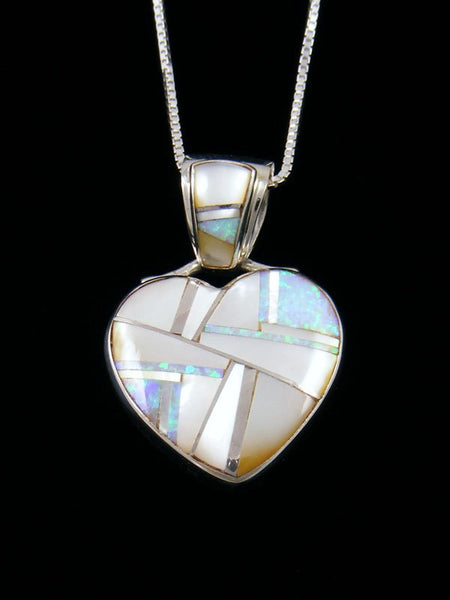 Navajo Inlay Opalite and Mother of Pearl Heart Pendant
