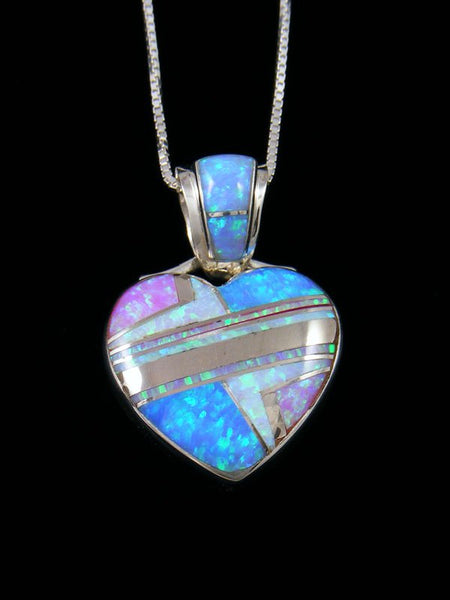 Navajo Inlay Pink and Blue Opalite Heart Pendant