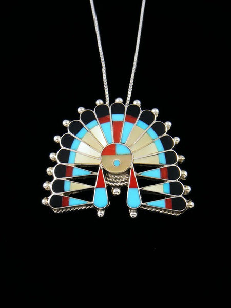 Sterling Silver Zuni Inlay Sunface Pin Pendant