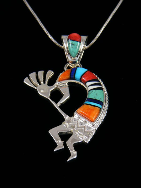 Native American Spiny Oyster Kokopelli Inlay Pendant