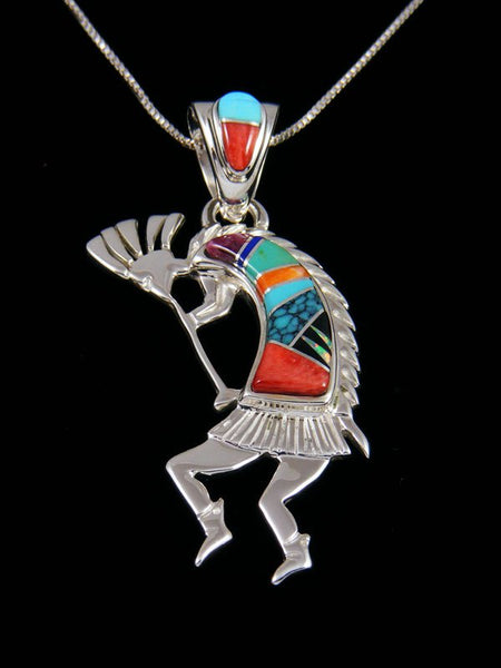 Native American Turquoise and Spiny Oyster Inlay Kokopelli Pendant