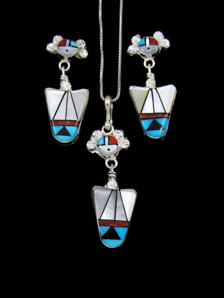 Native American Zuni Inlay Turquoise and Coral Sunface Necklace Set